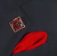 Antonio Ricci Fashion Lapel Pin/Button & Matching 100% Silk Pocket Square - Red