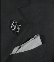 Antonio Ricci Fashion Lapel Pin/Button & Matching 100% Silk Pocket Square - Black Diamond Shape