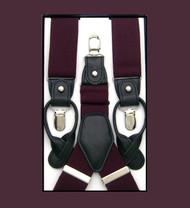 Convertible Button & Clip Stretch Braces - Suspenders - Plum