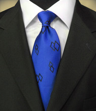 Antonio Ricci 100% Silk Italian Tie - Black Diamonds on Royal