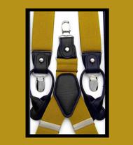 Convertible Button & Clip Stretch Braces - Suspenders - Gold