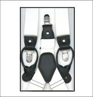 Convertible Button & Clip Stretch Braces - Suspenders - White