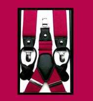 Convertible Button & Clip Stretch Braces - Suspenders - Fuchsia Pink