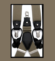 Convertible Button & Clip Stretch Braces - Suspenders - Taupe