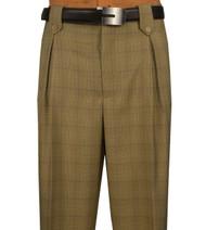 Veronesi 100% Wool Wide-Legged Slacks - Tan Plaid