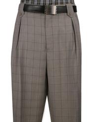 Veronesi 100% Wool Wide-Legged Slacks - Light Taupe Plaid