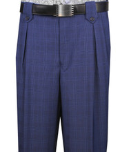 Veronesi 100% Wool Wide-Legged Slacks - Royal Blue Plaid