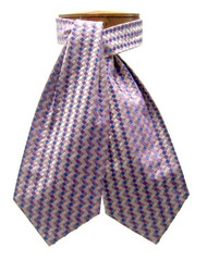 Antonio Ricci 100% Silk Ascot - Purple Basketweave Pattern