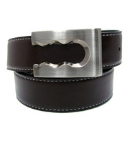 Contrasting Stitch Reversible 35mm Leather Belt - Brown Reverse Black