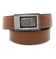 Contrasting Stitch Reversible 35mm Leather Belt - Cognac Reverse Black