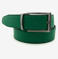 Green Reversible 35mm Leather Belt - Reverse side Black