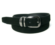 Genuine Suede Leather 30mm Belt with Silver Buckle - Black