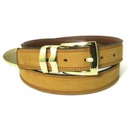 Double Stitched Genuine Nubuck Leather 30mm Belt with Buckle Tip - Mustard