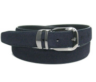 Genuine Suede Leather 30mm Belt with Silver Buckle - Navy