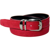 Genuine Suede Leather 30mm Belt with Silver Buckle - Red