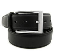 37mm - Bellissimo Pebbled Genuine Full Grain Leather Belt - Black