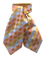 Antonio Ricci 100% Silk Ascot - Orange Block Pattern