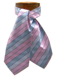 Antonio Ricci 100% Silk Ascot - Pink & Blue Stripes
