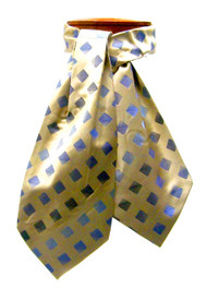 Antonio Ricci 100% Silk Ascot - Blue Diamonds on Gold