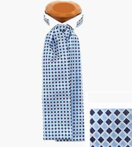 Formal 100% Woven Silk Ascot - Light & Blue Diamonds