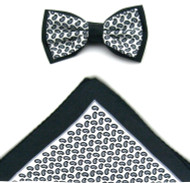Antonio Ricci Two-Tone Small Paisley Hankie/Bow Tie Set - Black & Grey