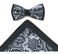 Antonio Ricci Fancy Paisley Two-Tone Bow Tie & Pocket Square - Black & Grey