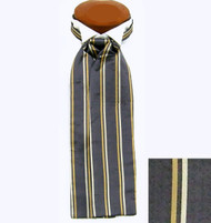 Formal 100% Woven Silk Ascot - Charcoal and Light Gold