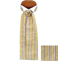 Formal 100% Woven Silk Ascot - Light Gold and Purple