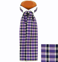 Formal 100% Woven Silk Ascot - Purple, Black and White