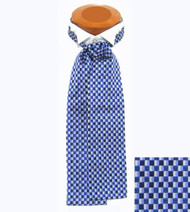 Formal 100% Woven Silk Ascot - Blue Tones