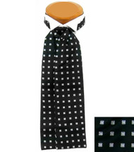 Formal 100% Woven Silk Ascot - Black and White