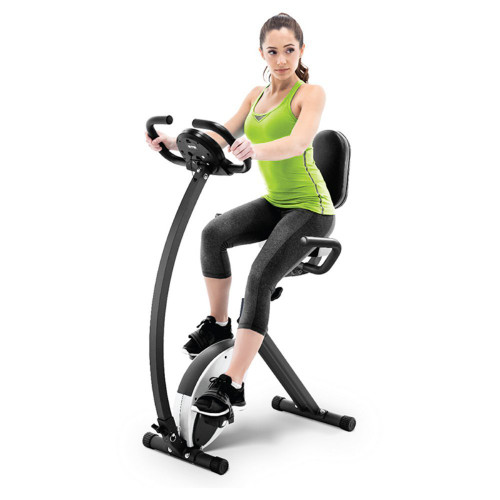 The Marcy Foldable Exercise Bike with High Back Seat NS-653 is a convenient low-impact method of getting an intense cardio workout
