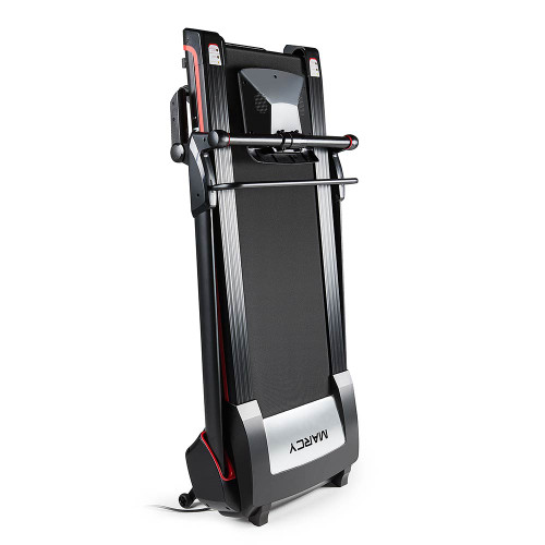 The Marcy Easy Folding Motorized Treadmill JX-651BW folds for easy storage
