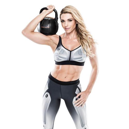 Bionic Body 30 lb. Soft Kettlebell held by Kim Lyons