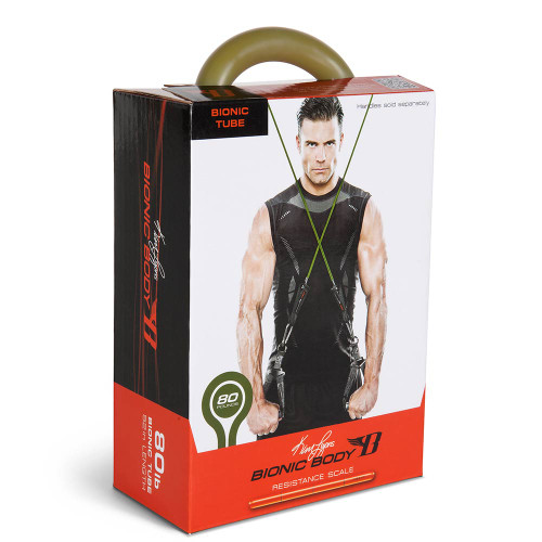 Long lasting Bionic Body 80 lb Resistance Band Inside of the package