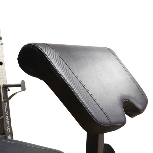 The Marcy Olympic Weight Bench MD-857 comes with comfortable padding for extended workouts