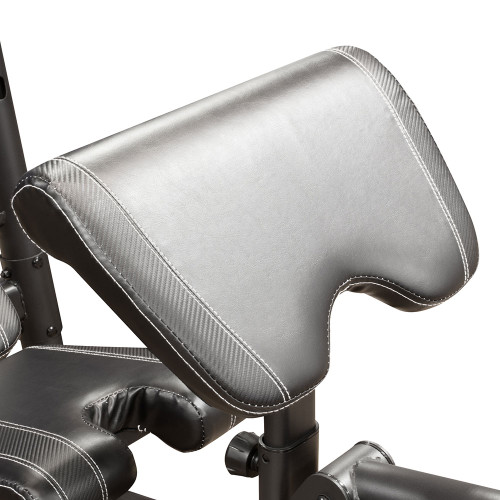 The Marcy Diamond Mid Size Bench MD-867W includes a comfortable preacher curl pad