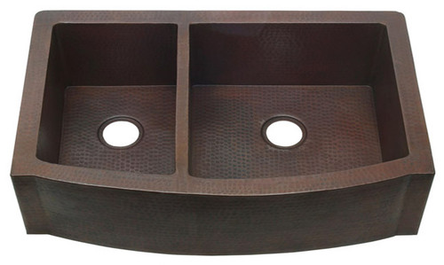 FHA-RFE-40/60 split double bowl copper kitchen sink