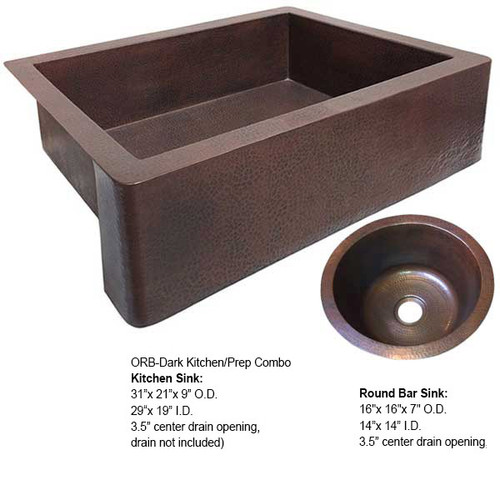Copper Farmhouse/Round Copper Bar Sink Combo-ORB Dark (FHA-RBV-COMBO-DK)