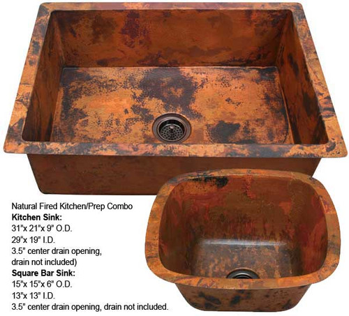 Copper Kitchen Sink/Square Bar Sink Combo-Natural Fire (KDI-SBV-COMBO-NF)