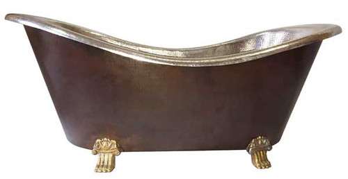 Hammered Copper Claw Foot Bath Tub   Tin Interior/Dark Exterior/Brass Feet