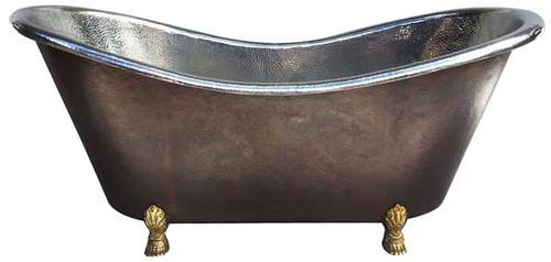 Copper Claw foot Bath Tub - Tin interior/Dark Exterior/Brass Feet