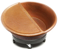 Hammered copper spa bowl with footrest and rolling cart PED20+FR+CRT