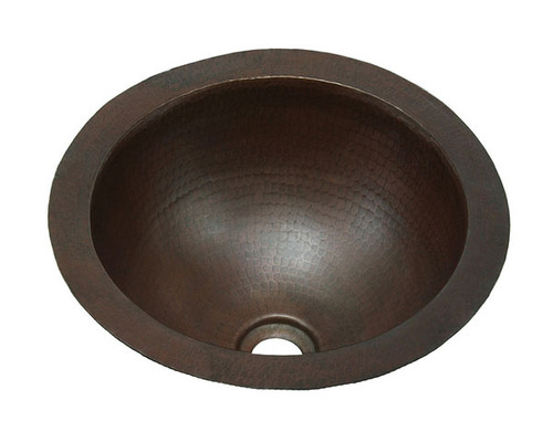 Small round copper bath sink in hammered copper.
