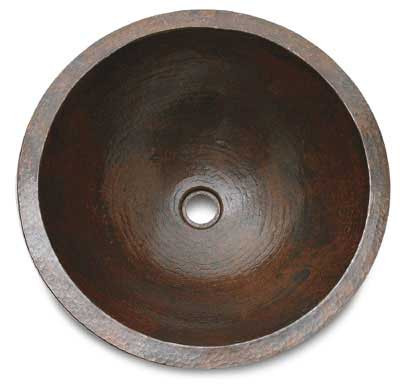 Large round copper sink
