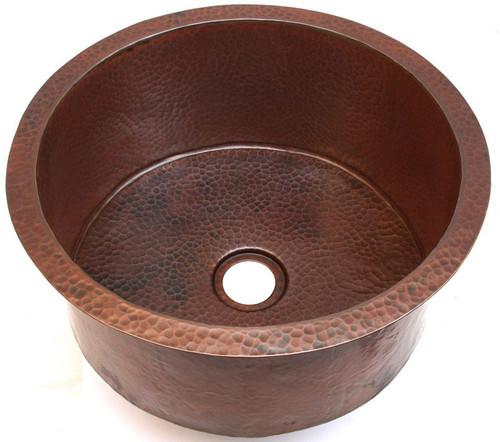 DBV16-hammered copper drum sink