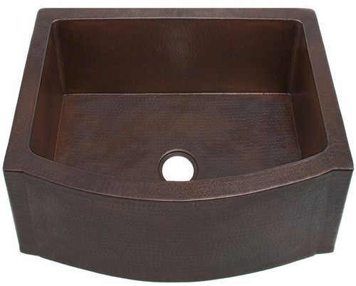 "FHA25RFE-25"" Rounded Front w/Flat Ends copper kitchen sink"