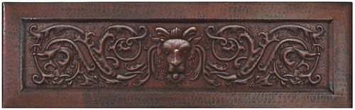 Copper kitchen sink with Lion scroll apron front farmhouse