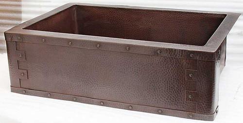 Medieval Apron Front on copper kitchen farm sink