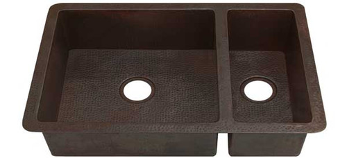 Double copper kitchen sink with smaller well 70/30